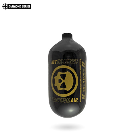 "Infamous Skeleton Air ""Hyperlight"" Paintball Tank BOTTLE ONLY - Diamond Series - Black / Gold - 80/4500 PSI"