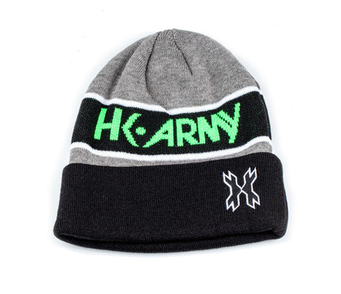 HK Attack Beanie - Grey / Black / Neon Green - Punishers Paintball