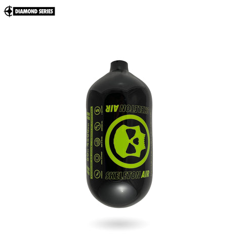 "Infamous Skeleton Air ""Hyperlight"" Paintball Tank BOTTLE ONLY - Diamond Series - Black / Volt - 80/4500 PSI"
