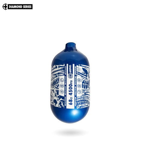 "INFAMOUS AIR ""BONES"" Paintball Tank - Diamond Series - BOTTLE ONLY -  68CI / 4500PSI - Blue / White"