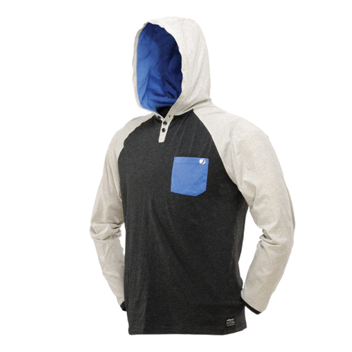 Dye Coba Hood Shirt   Heather Gray   Blue