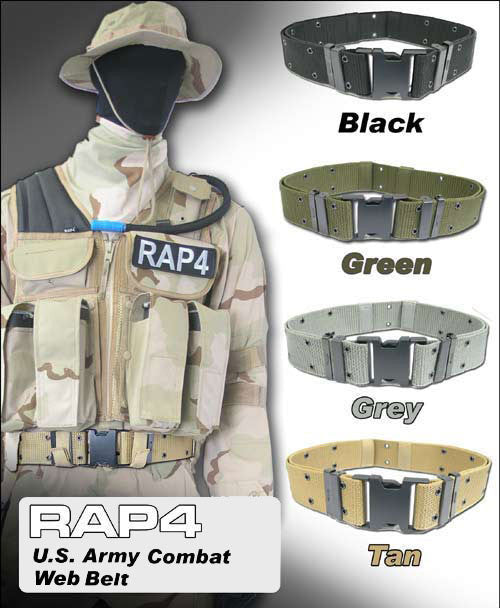 BLACK Combat Web Belt - Punishers Paintball