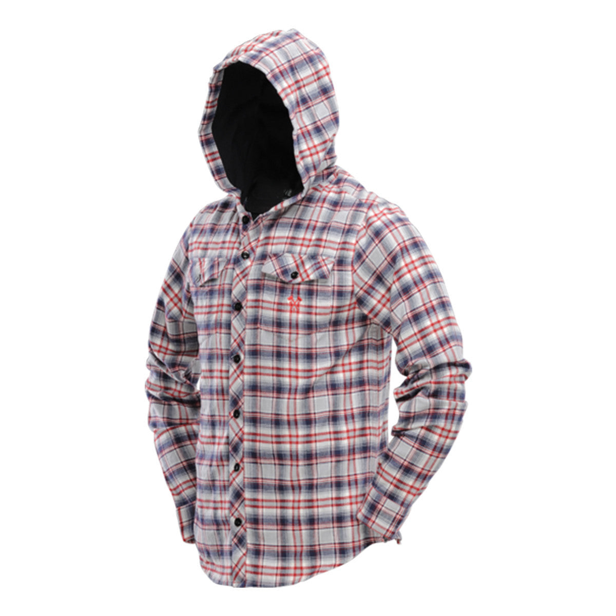 Hooded Flannel   Gray   Red   punisherspb.myshopify.com