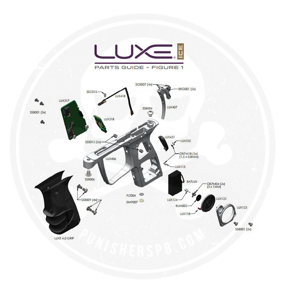 DLX Luxe Ice Grip Frame Parts List   Pick The Part You Need!