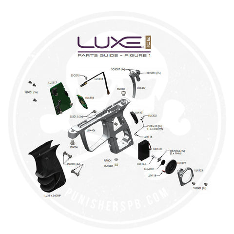 DLX Luxe Ice Grip Frame Parts List - Pick The Part You Need!