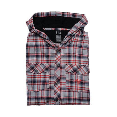 Hooded Flannel - Gray / Red