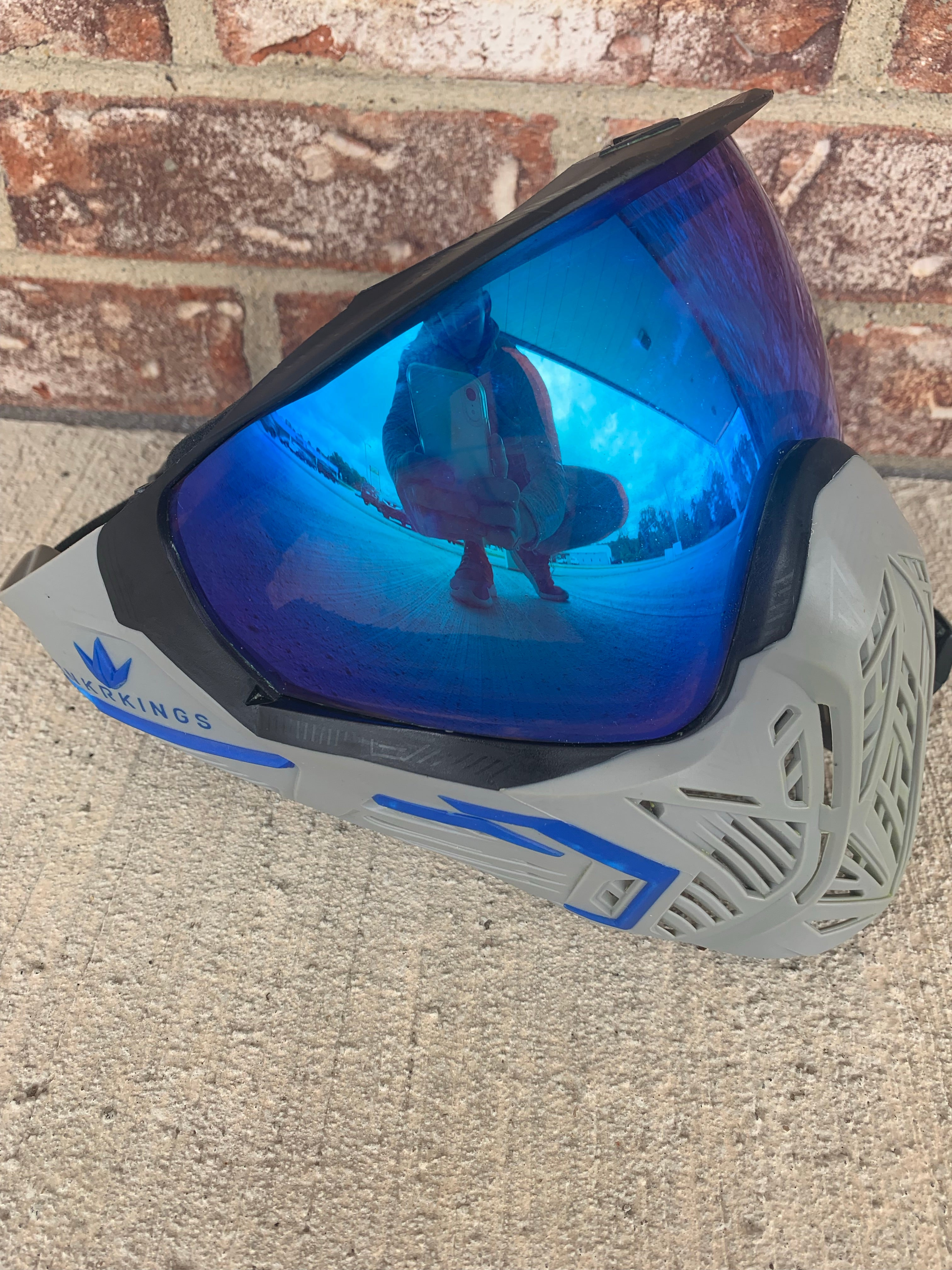Used Bunker Kings CMD Paintball Mask- Gray/Blue