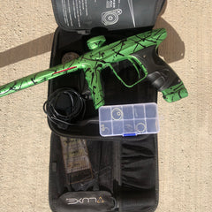 Used DLX Luxe Ice Paintball Gun - Dust Green/Black 3D Splash