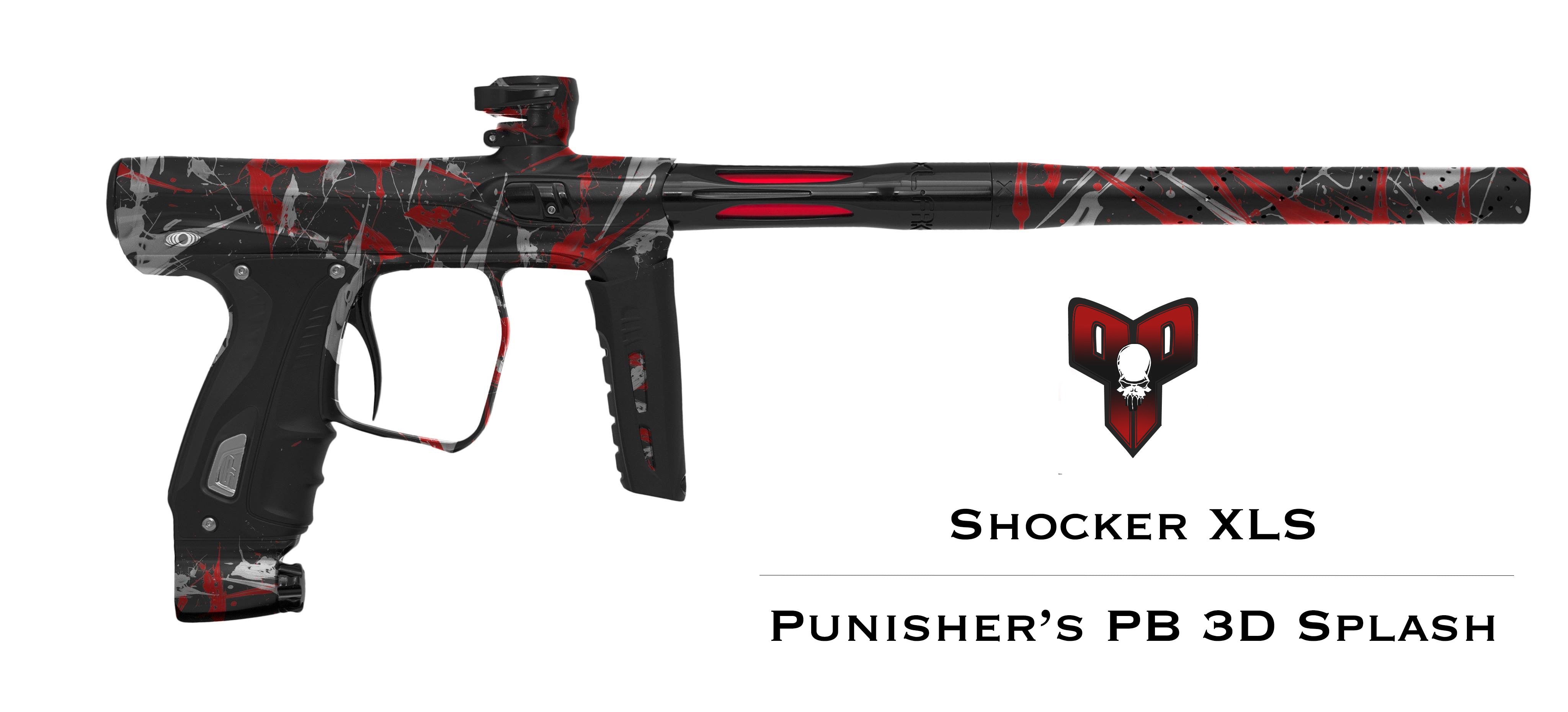 Shocker XLS Paintball Gun - Punishers Paintball Tri Color Splash - Black/Red/Silver