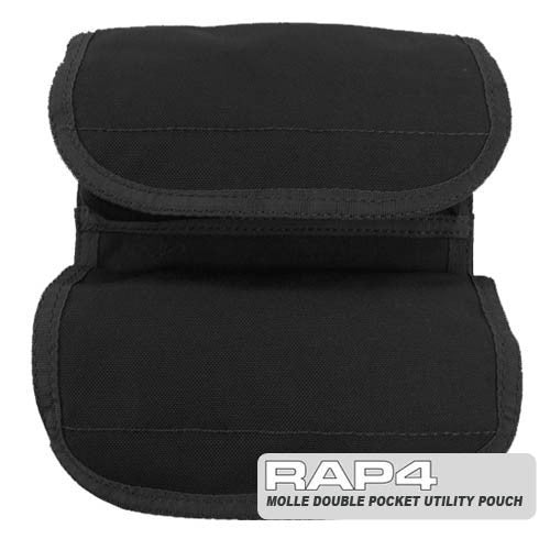 BLACK Small Double Utility Pouch - Punishers Paintball