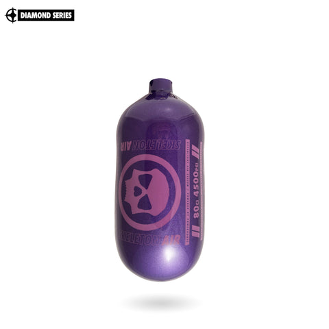 "Infamous Skeleton Air ""Hyperlight"" Paintball Tank BOTTLE ONLY - Diamond Series - Purple / Purple - 80/4500 PSI"