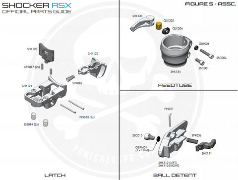 SP Shocker Latch/Ball Detent/Feedtube Parts List - Pick The Part You Need!