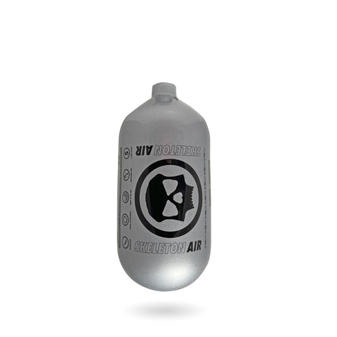 "Infamous Skeleton Air ""Hyperlight"" Paintball Tank BOTTLE ONLY - Diamond Series - Silver / Black - 80/4500 PSI"