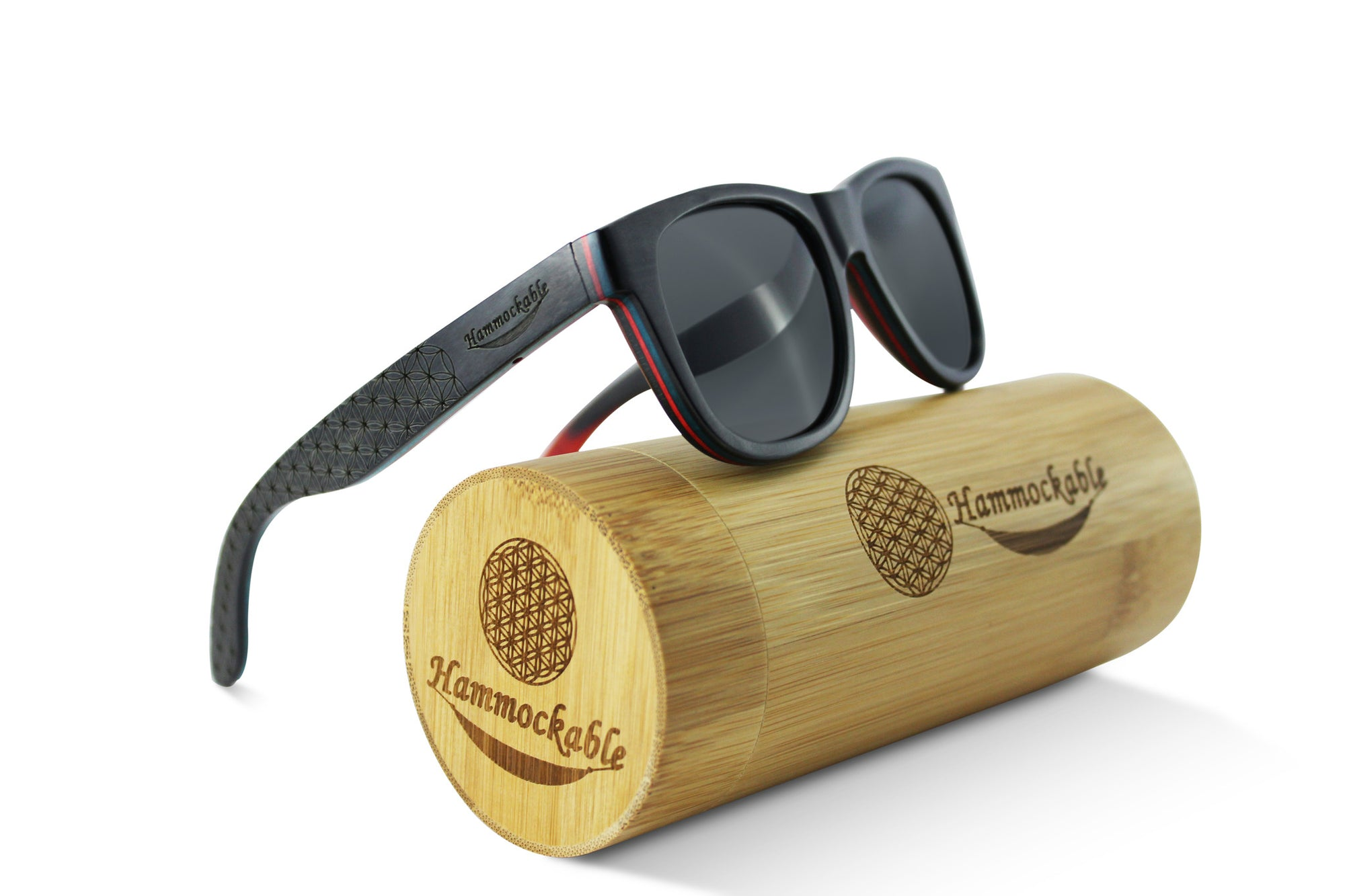 Hammockable Wooden Sunglasses - Black Maple - Flower of Life