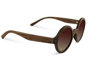 Retro Round Lennon Wood Sunglasses