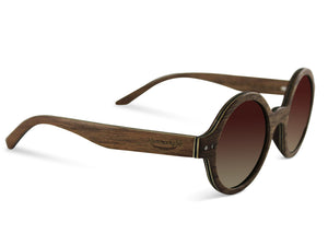 Retro Round Hammockable Lennon Style Wood Sunglasses
