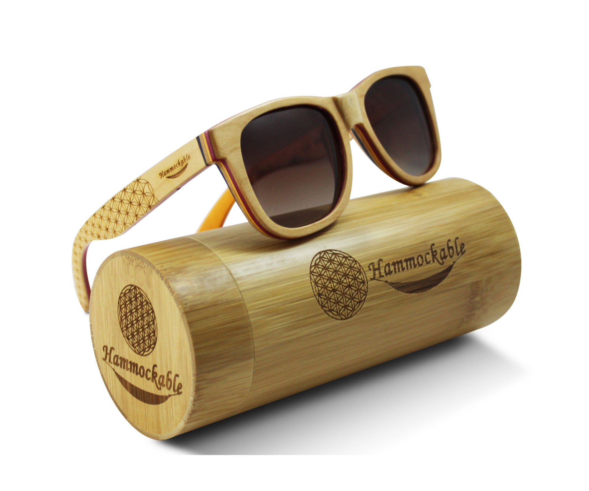 Natural Maple Wood Sunglasses - Flower of Life
