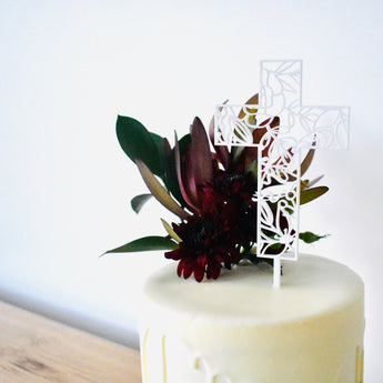Floral Cross Cake Topper (other colours available)