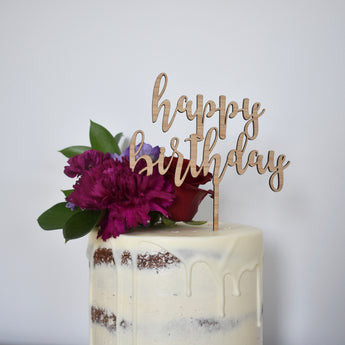 Happy Birthday Topper - Large/Dark Bamboo
