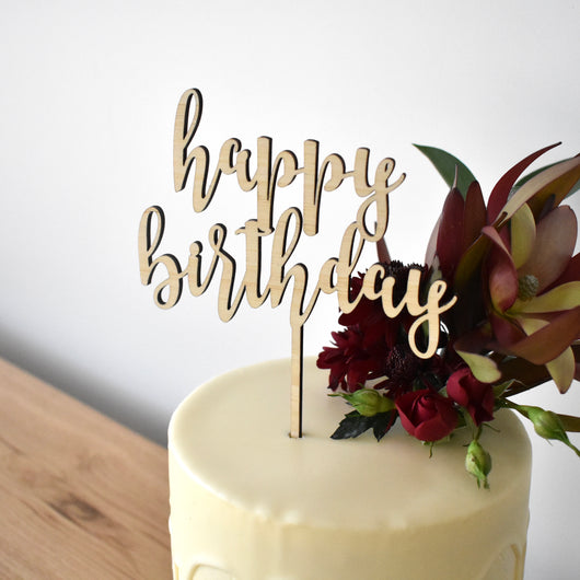 Style 3 Happy Birthday Topper - Large/Light Bamboo