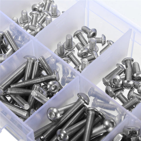 M3 Stainless Hex Socket Button Head Screws Allen bolt Nut Assortment Kit