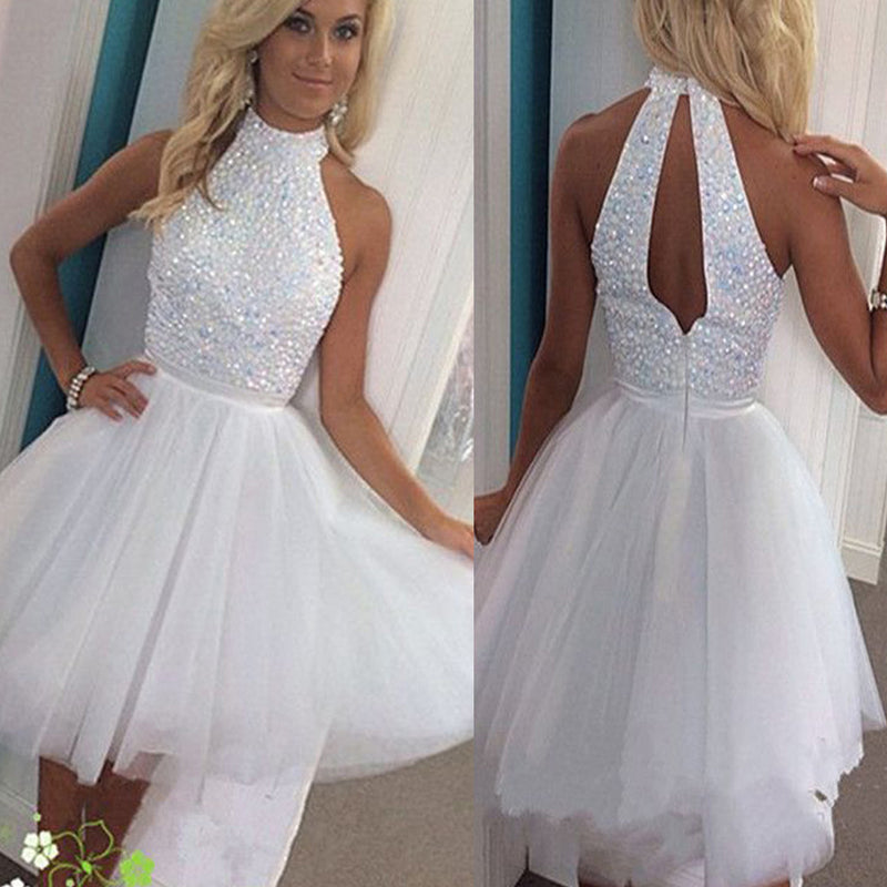 Vintage White Sparkly Beads Halter Keyhole Back Tulle Skirt Mini Homecoming Prom Dress,BD0008