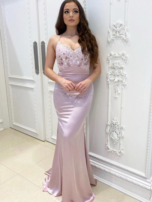 Sexy V-neck Lace Up Back Mermaid Lace Long Prom Dresses Evening Dresses.DB10590