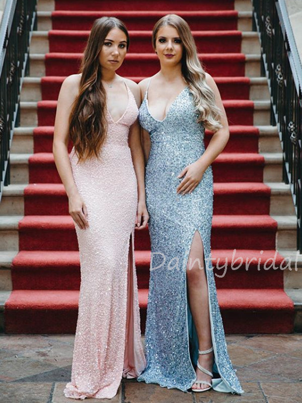 Fashion V-neck Mermaid Sequin Side Slit Long Prom Dresses Evening Dresses.DB10431