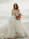 Gogerous V-neck Vintage Tulle Lace A-line Wedding Dresses.DB10401