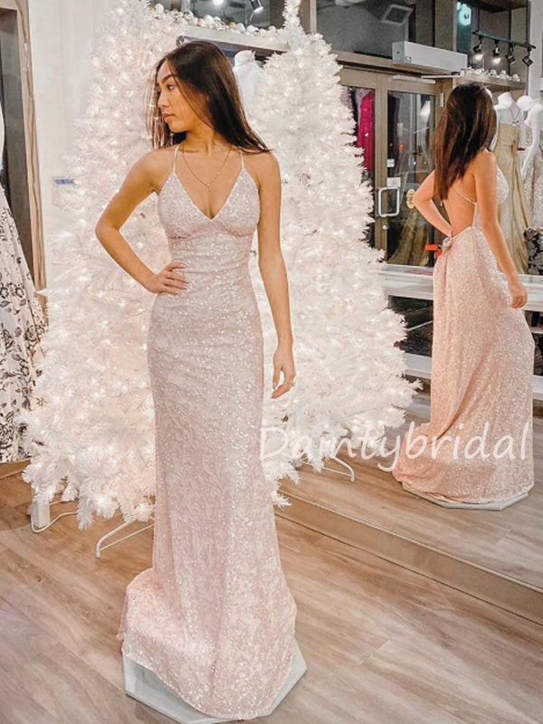 Sexy V-neck Lace Sequin Open Back Mermaid Long Prom Dresses Evening Dresses.DB10501