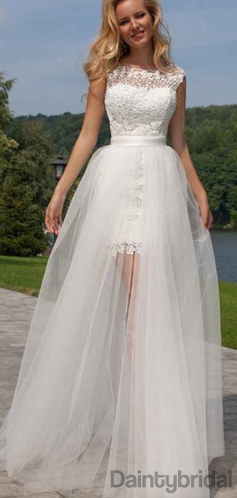 Scoop Neck Lace Two Piece Mini Wedding Dresses.DB10201