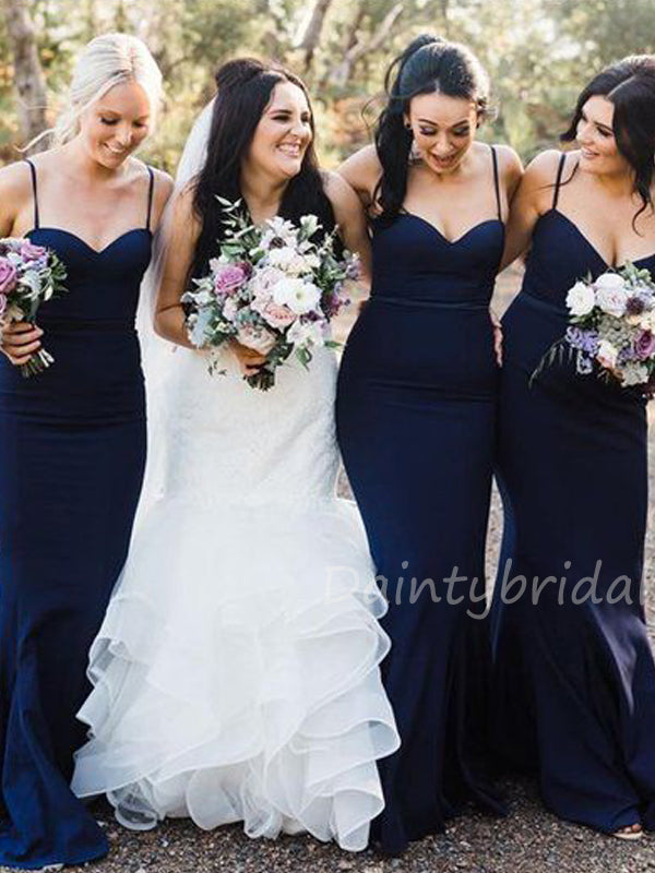 Spaghetti Strap Satin Mermaid Long Bridesmaid Dresses.DB10421