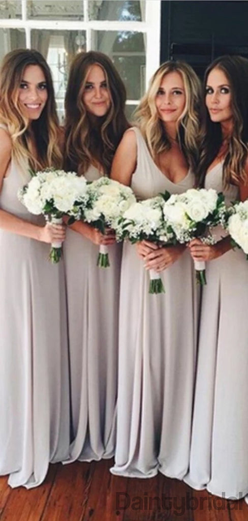 Sexy V-neck Open Back Floor Length Chiffon Bridesmaid Dresses.DB10329