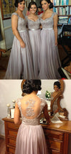 Long Formal Grey Lace Beads Elegant A- line Yarn Back Queen Anne Neck Floor-length Bridesmaid Dresses, WG02