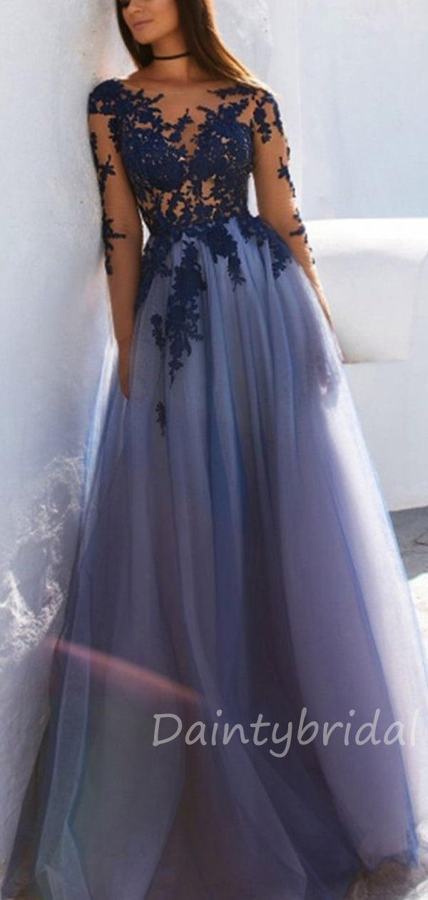 Sexy See Through Blue Lace Long Sleeve Open Back Custom Long Evening Prom Dresses.DB10391