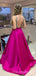 Sexy V-Neck A-line Satin Long Prom Dresses Evening Dresses.DB10361