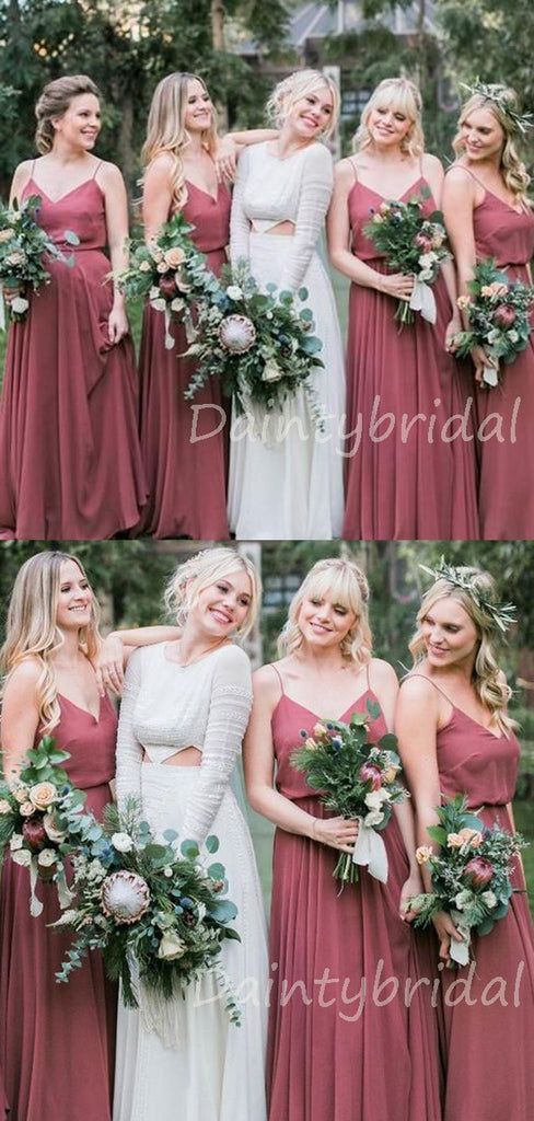 Charming V-neck Long Chiffon Floor Length Bridesmaid Dresses.DB10382