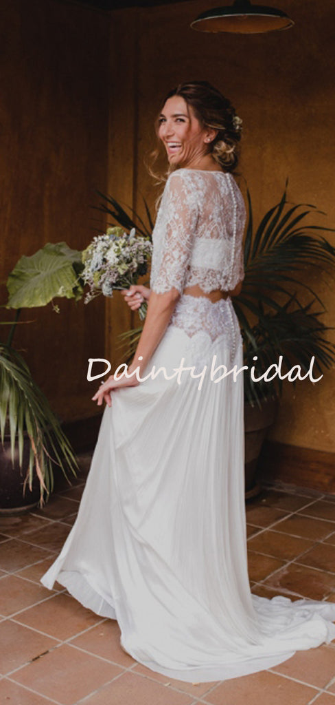 Simple Fashion Scoop Neck Lace Chiffon Short Sleeve Two-piece Evening Party Long Wedding Dresses, DB10691