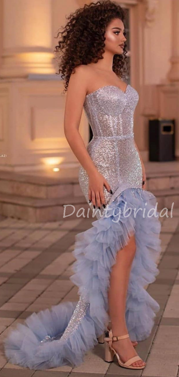 Charming Sweetheart Tulle Sequin Long Prom Dresses Evening Dresses.DB10611