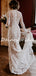 Charming High Neck Mermaid Tulle Lace Long Sleeve Wedding Dresses Evening Dresses.DB10715