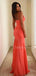 Sexy V-neck Chiffon Side Slit Long Prom Dresses Evening Dresses.DB10451