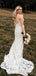 Mermaid V-neck Spaghetti Strap Lace Sleeveless Wedding Dresses.DB10083