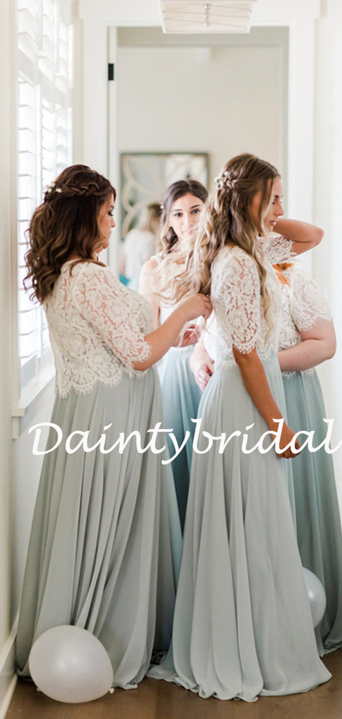 Simple Round Neck Floor-length Lace Chiffon Two-piece Long Bridesmaid Dresses.DB10767