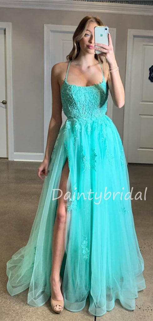 Charming V-neck Tulle Side Slit A-line Long Prom Dresses Evening Dresses.DB10510