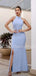 Charming Halter Mermaid Side Slit Long Prom Dresses Evening Dresses.DB10490