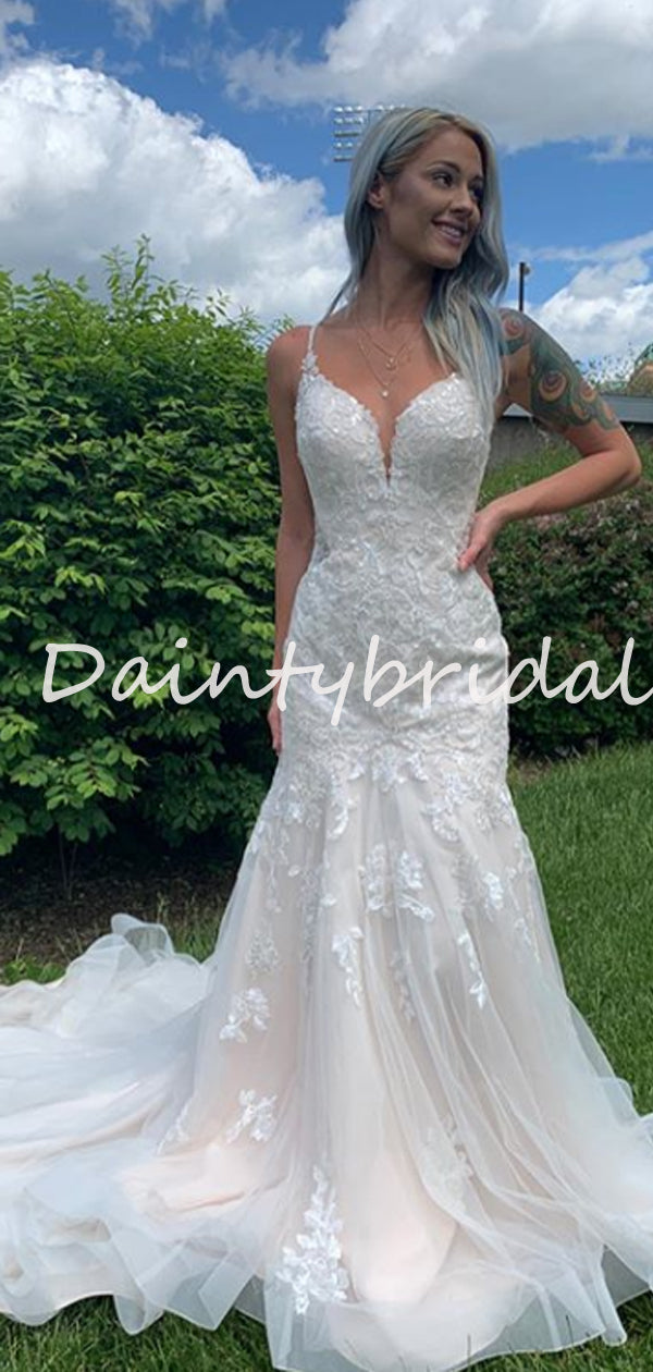 Simple Sexy Spaghetti Strap V-neck Mermaid Lace Tulle Long Wedding Dresses Evening Dresses.DB10707