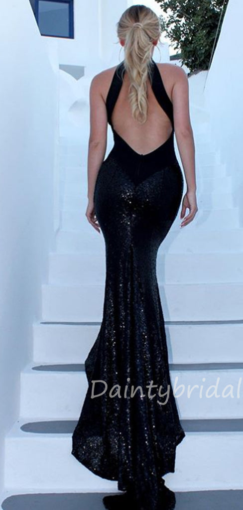 Mermaid Halter Sequin Open Back Long Evening Prom Dresses, Cheap Prom Dresses.DB10400