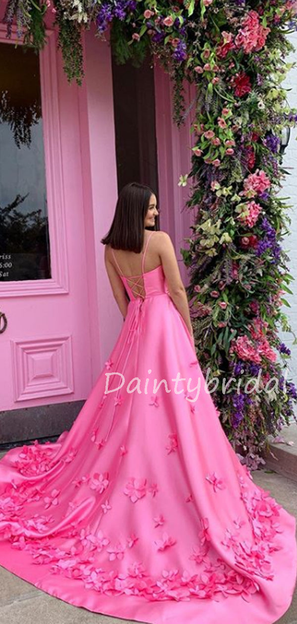 Charming V-neck Satin A-line Lace Up Back Long Prom Dresses Evening Dresses.DB10570