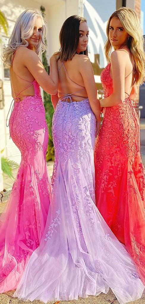 Mermaid V-neck Tulle With Appliques Open Back Long Prom Dresses Evening Dresses.DB10249