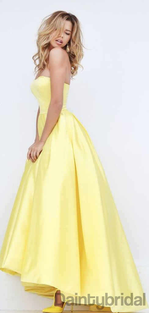 A-line Straight High-low Satin Long Prom Dresses.DB10148